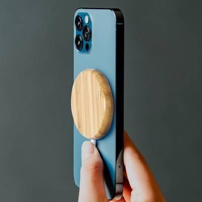 Magnetyczna bambusowa ładowarka bezprzewodowa 10W